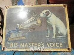 Rare 1930s Old Vintage His Master's Voice Gramophone Porcelain Enamel Sign Board