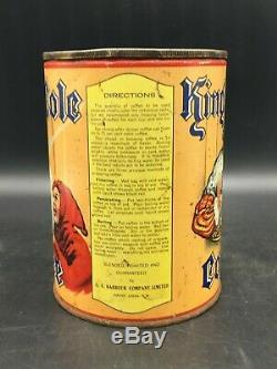Rare 1930s Vintage King Cole Coffee Tin Saint John, NB