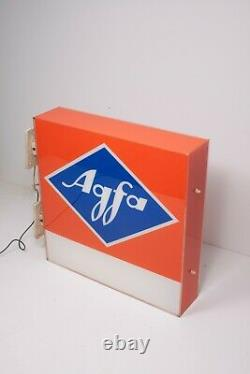 Rare Agfa Photo Shop Sign / 1980s Agfa Double Sided Plaque / Vintage Advertising