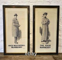 Rare Antique Burberry c1917 Advertising Shop Display Boards Sign Vintage Tailor