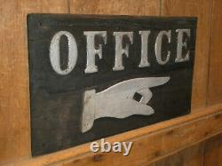 Rare Early Old Original'office' Pointing Finger Wood Trade Sign Vintage Antique