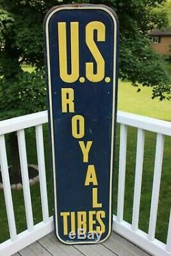 Rare Large Vintage 1947 U. S. Royal Tires Gas Station 61 Metal Sign
