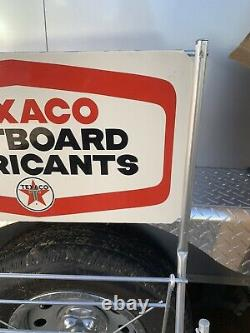 Rare NOS Vtg 1968 TEXACO OUTBOARD MARINE OIL CAN DISPLAY RACK with Sugn & Orig Box