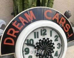 Rare! Neon clock marquee, Electric neon clock co. Original Vintage 26