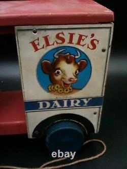 Rare Old Vintage Original Fisher Price Elsie's Dairy Truck # 745 Borden 1948