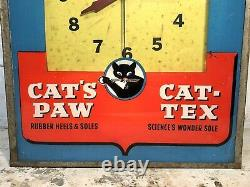Rare Original Cat's Paw Shoe Repairing Advertising Electric Wall Clock Sign Vtg