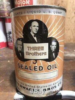 Rare Original Three Brothers One Quart Motor Oil Can Metal Gas Garage Vintage 2