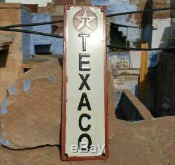 Rare Original Vintage 1930's Old Antique Texaco Oil Porcelain Enamel Sign Board