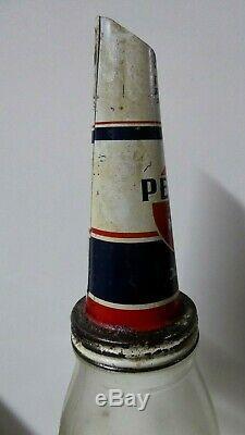Rare Original Vintage Penrite Oil Bottle Tin Top Embossed Imperial Quart Glass