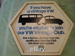Rare Orignai Vintage VW CLUB of America Sign Volkswagen Deet Eichel