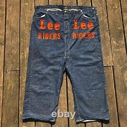 Rare VTG 40s 50s Lee Riders Giant Rodeo Clown Denim Jeans Advertising 50x22
