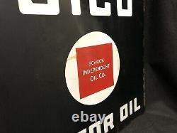 Rare Vintage 1920s SICO Schock Independent Oil Co. Porcelain Flange Sign