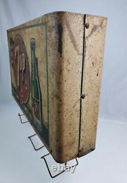 Rare Vintage 1940's 7up paper bag holder double sided sign Country Store display