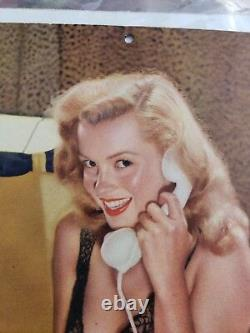 Rare! Vintage 1947 Marilyn Monroe Sunoco Advertising Calendar pinup Her First