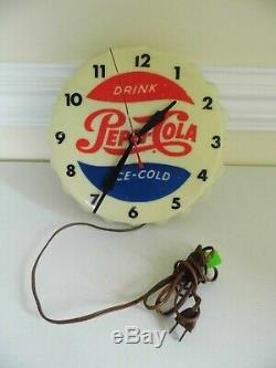 Rare Vintage 1950's Pepsi Cola Soda Pop Gas Station Lighted Clock SignWorks