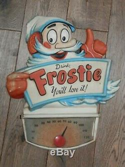 Rare Vintage 1950s Frostie Root Beer / Soda Vacuum Formed Plastic Display Sign