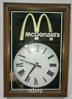 Rare Vintage 1978 McDonald's Advertising Wall Clock Mirror Golden Arches Working