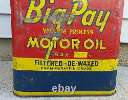 Rare Vintage 2 Gallon Big Pay Vacuum Process Motor Oil Can, XLNT Color