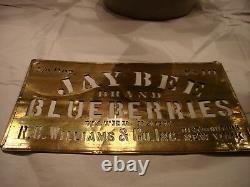 Rare, Vintage, Antique Brass Stencil Advertising Jay Bee Brand Blueberries Aafa