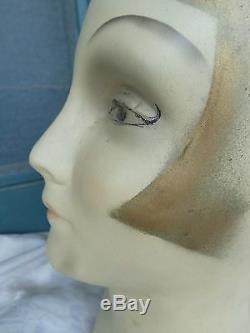 Rare Vintage Art Deco Flapper Girl Store Display Lady Chalk Mannequin Head