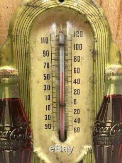 Rare Vintage Circa 1940s Coca Cola Double Bottle Tin Wall Thermometer, 8