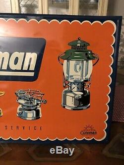 Rare Vintage Coleman Lantern Sales & Service Dealer Self Framed Tin Sign 14X20