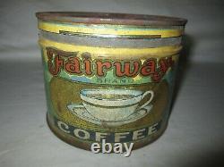 Rare Vintage Fairway 1 Pound Coffee Tin Awesome Graphics