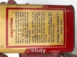Rare Vintage Hi Speed 1930's Auto Wax Treated Polishing Dust Cloth Tin Gas Oil