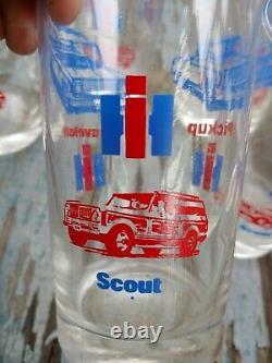 Rare Vintage IH International Harvester Scout, Travelall, Pickup 8 Glasses set