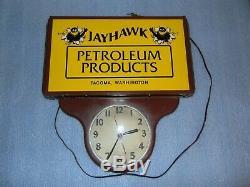 Rare Vintage Jayhawk Oil Petroleum Products Lighted Sign Tacoma Washington