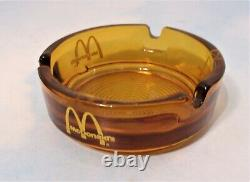 Rare Vintage McDonalds Amber Glass Advertising Ashtray