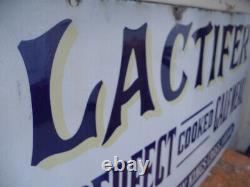 Rare Vintage Old Lactifer Vitreous Enamel Advertising Sign Farming Barn Find