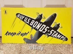 Rare Vintage Original 1942 WWII U. S War Bonds Sign US Government Printing Office