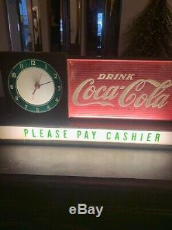 Rare Vintage Original Coca Cola Fountain Shop Light up Clock Sign lights works