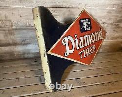 Rare Vintage Original Diamond Tire DS Metal Flange Sign Gas & Oil Station