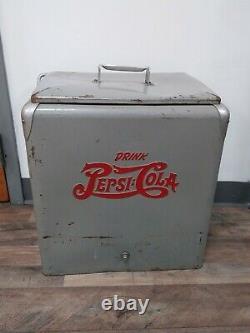 Rare Vintage Original (Military Gray) Metal Pepsi Cola Cooler withLid