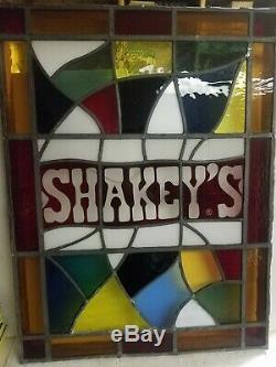 Rare Vintage Shakey's Pizza Stained Glass Signbeautiful Huge