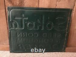 Rare Vintage Sokota Seed Corn and Sorghum Dealer Sign Hybrid Embossed Sign