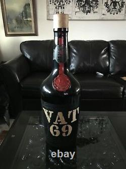 Rare Vintage Vat 69 Scotch Whiskey Glass Bottle Hip Flask No Alcohol 2ft Tall