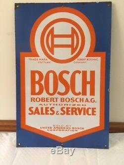 Rare! Vintage orginal Bosch Sales & Service double sided porcelain sign 16x24