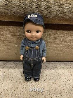 Rare Vintage original My Pal Buddy Doll Lee hat Overalls jeans denim