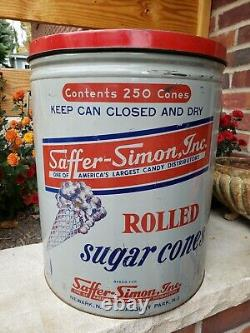 Rare Vtg Saffer-Simon Inc Newark NJ Graphic Tin Litho Ice Cream Sugar Cone Can