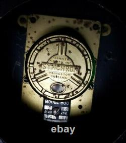 Rare Vtg Synchron Neon Advertising Clock Art Deco Milanos Importing Co WNHC 1340