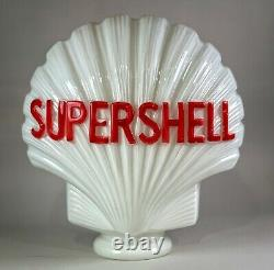- Rare et superbe globe Shell en Opaline / Pompe a essence Vintage 1950