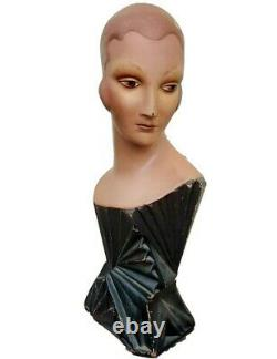 SUPER RARE EXQUISITE Vintage ART DECO Mannequin Millinery Bust Store Display