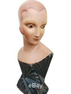 SUPER RARE EXQUISITE Vintage ART DECO Mannequin Millinery Bust Store Display