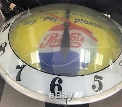 Say Pepsi Please PEPSI COLA DOUBLE BUBBLE Light Up 15 Clock-Vintage-Rare-Works