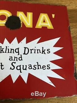 Small Vintage Corona Enamel Advertising Double Sided Sign With Flange. Rare