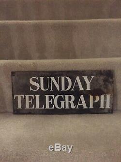 Sunday Telegraph Enamel Sign Original Old Rare Advertising Antique Vintage News