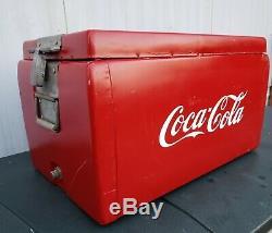ULTRA-RARE VINTAGE ORIGINAL COCA-COLA BOX COOLER withDrain Plug & Tray VERY NICE
